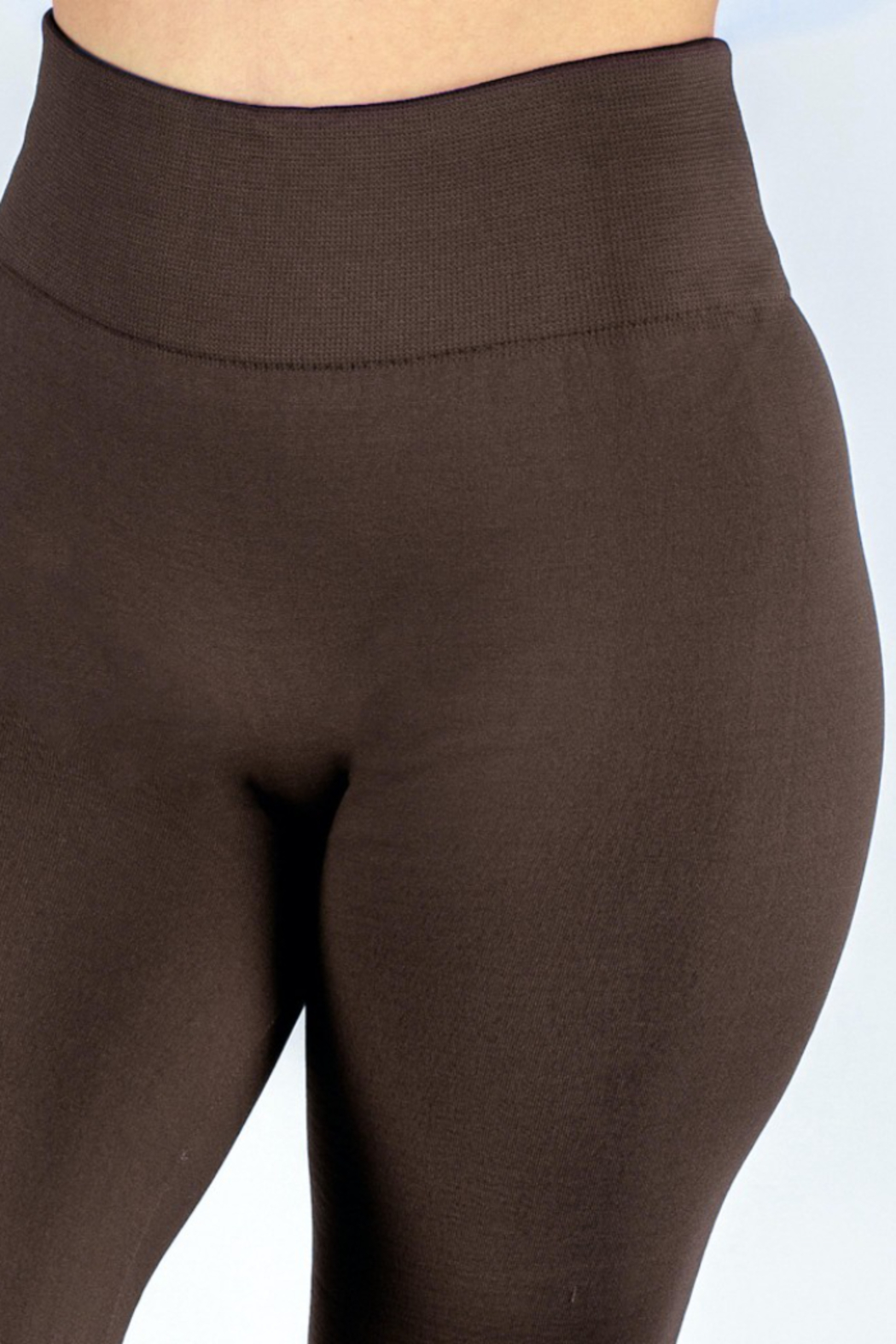 New Mix Women's Solid Color Seamless Fleece Lined Leggings - Front Full Image