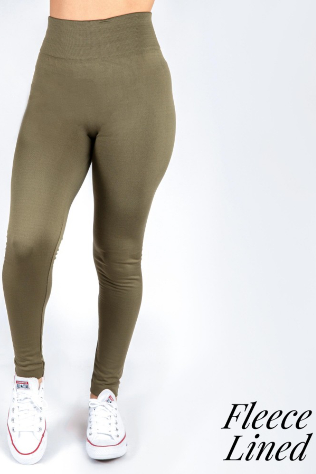 New Mix Women's Solid Color Seamless Fleece Lined Leggings - Front Cropped Image