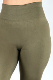 New Mix Women's Solid Color Seamless Fleece Lined Leggings - Front full body