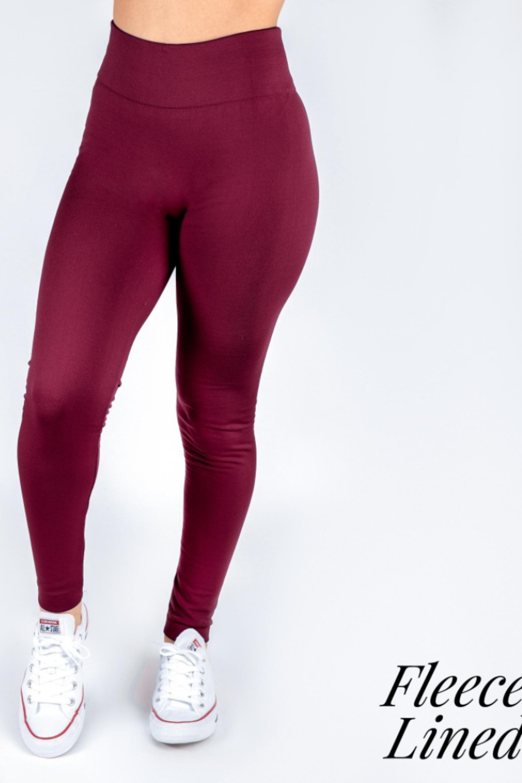 New Mix Women's Solid Color Seamless Fleece Lined Leggings - Main Image