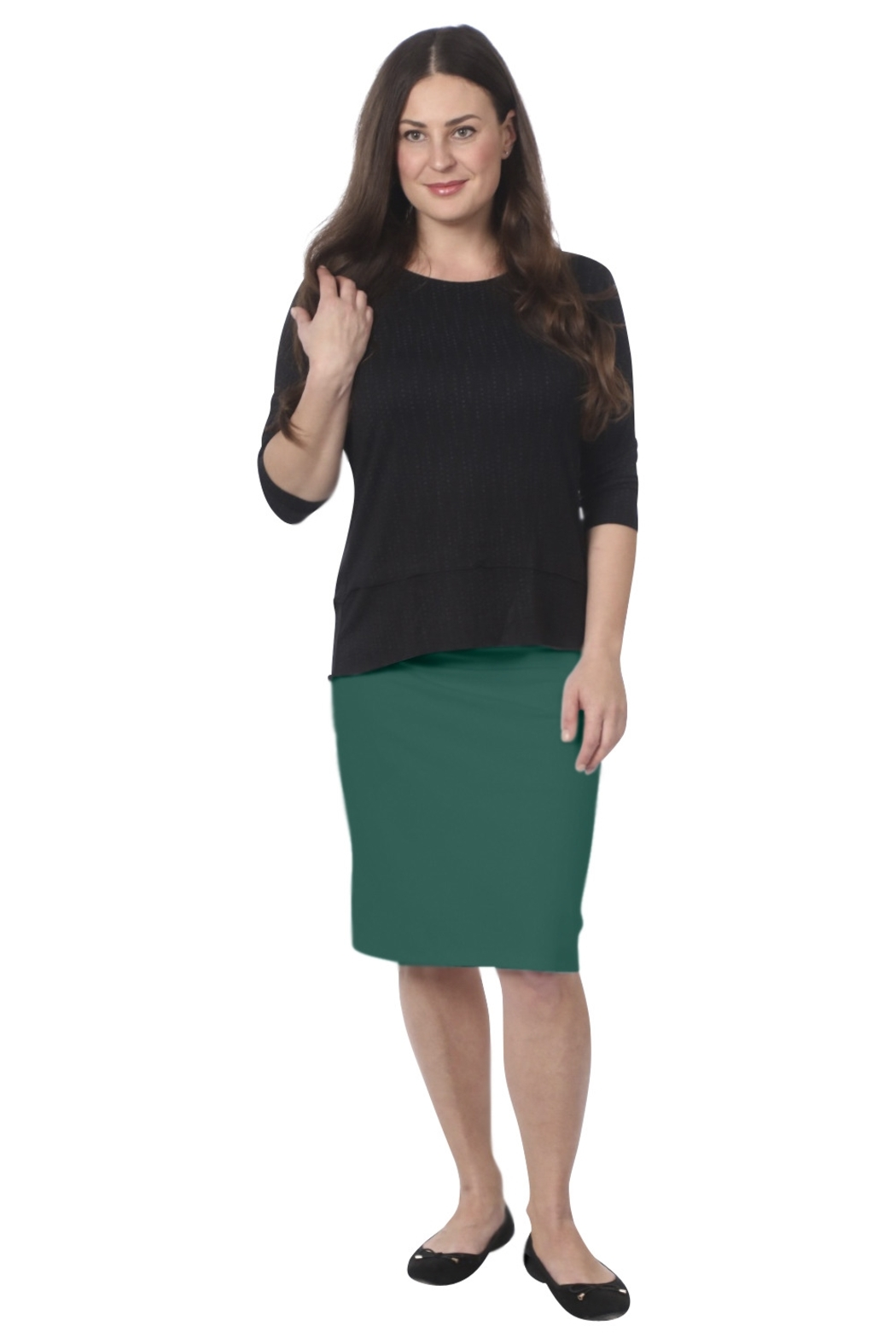 Kosher Casual Women's Stretch Pencil Skirt - Front Cropped Image