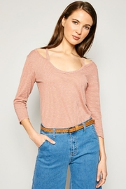 Hayden Los Angeles Women's Stripe Top With Shoulder Cutout Detail - Front cropped