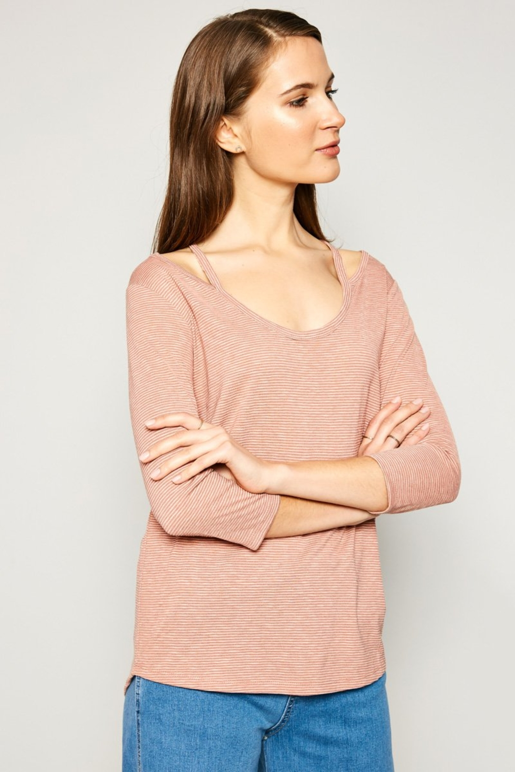Hayden Los Angeles Women's Stripe Top With Shoulder Cutout Detail - Side Cropped Image