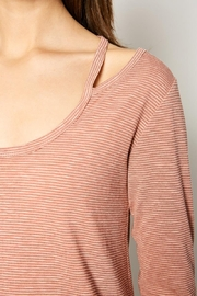 Hayden Los Angeles Women's Stripe Top With Shoulder Cutout Detail - Front full body