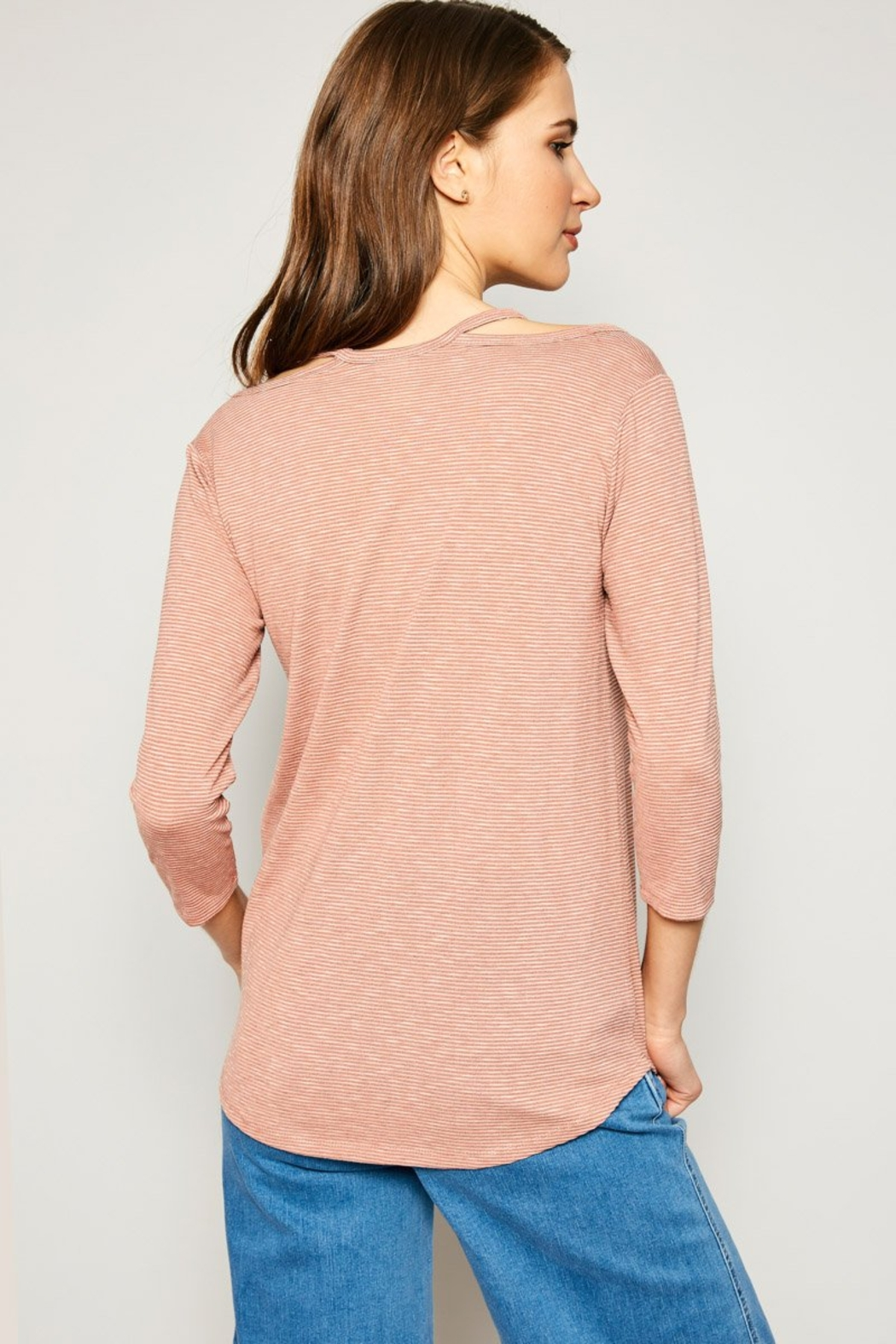 Hayden Los Angeles Women's Stripe Top With Shoulder Cutout Detail - Back Cropped Image