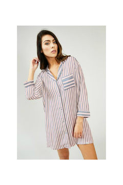 Pretty You London Womens Stripe Nightshirt - Pink/Grey - Product List Image
