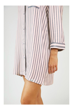 Pretty You London Womens Stripe Nightshirt - Pink/Grey - Alternate List Image