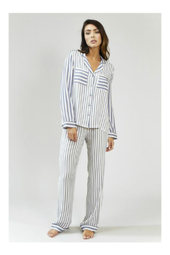 Pretty You London Womens Stripe Pajama Set - Grey/Ecru - Product List Image