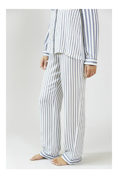 Pretty You London Womens Stripe Pajama Set - Grey/Ecru - Alternate List Image