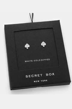 Wona Trading Secret-Box - White-Gold-Dipped-Crystal-Spade Studs - Alternate List Image