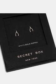 Wona Trading Secret-Box - White-Gold-Dipped-Wishbone Studs - Product Mini Image