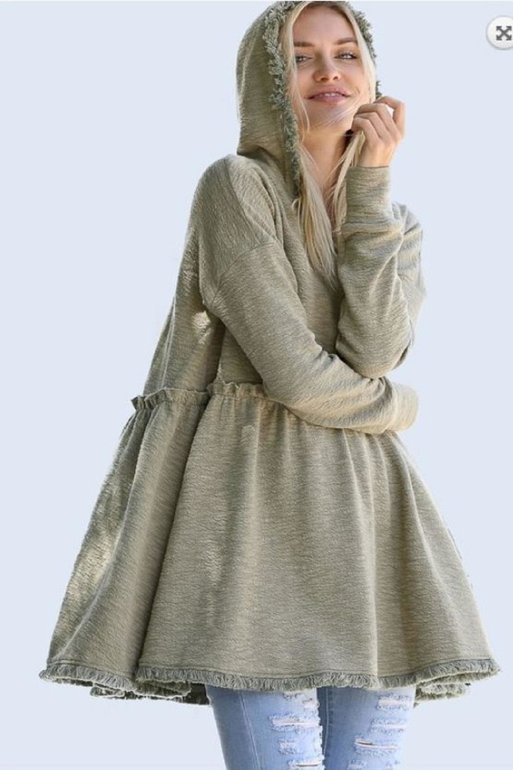 Wonderland Hooded Hi-Low Tunic - Front Cropped Image