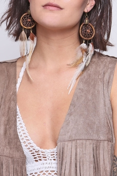 Shoptiques Product: Cruelty Free Feather Earrings