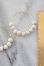 Libby & Smee Wood Bead Hoops - Front cropped