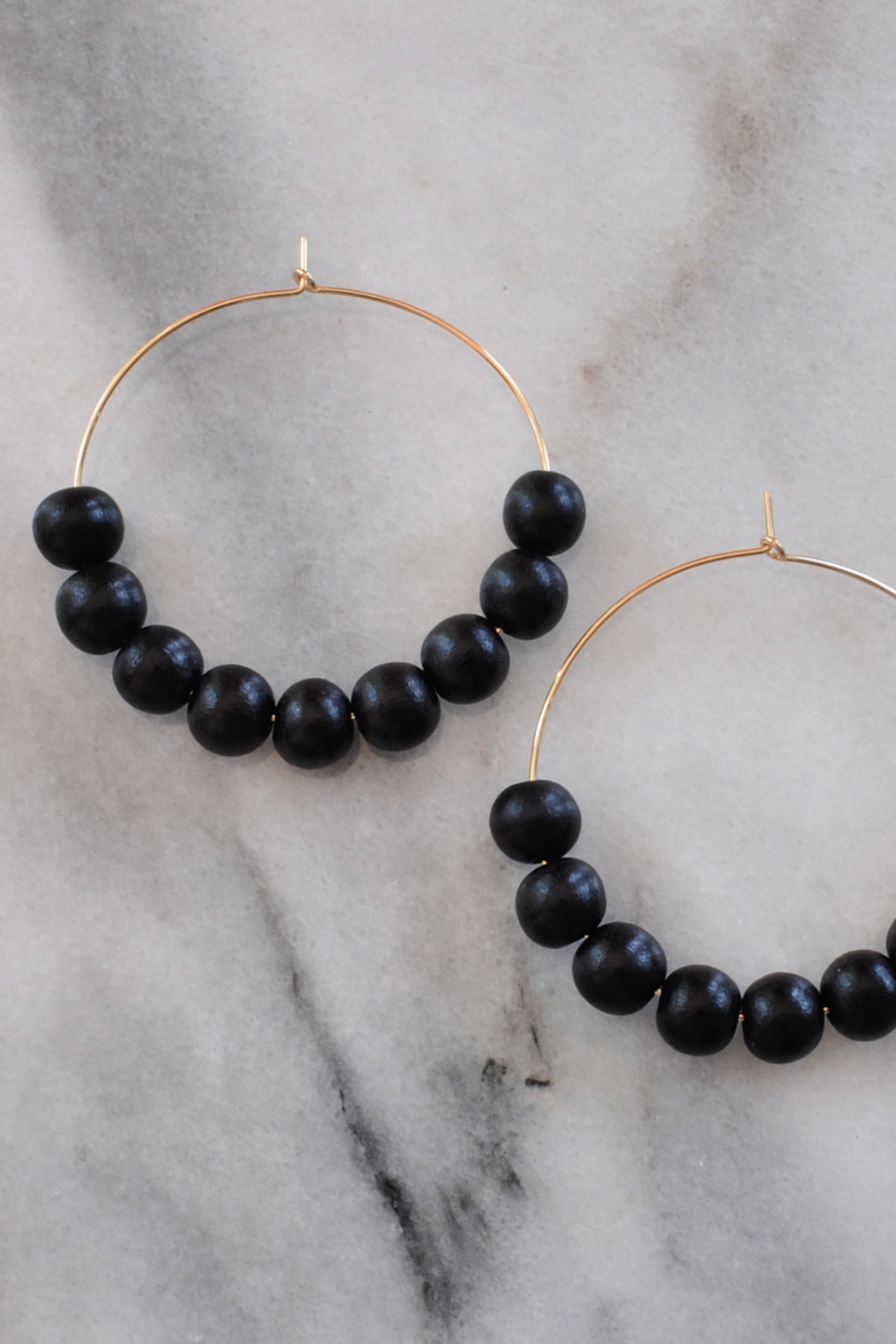 Libby & Smee Wood Bead Hoops - Front Full Image