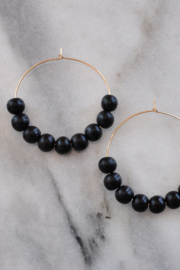 Libby & Smee Wood Bead Hoops - Front full body