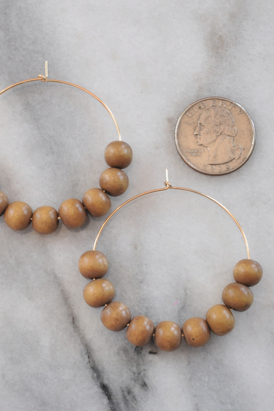 Libby & Smee Wood Bead Hoops - Front Cropped Image