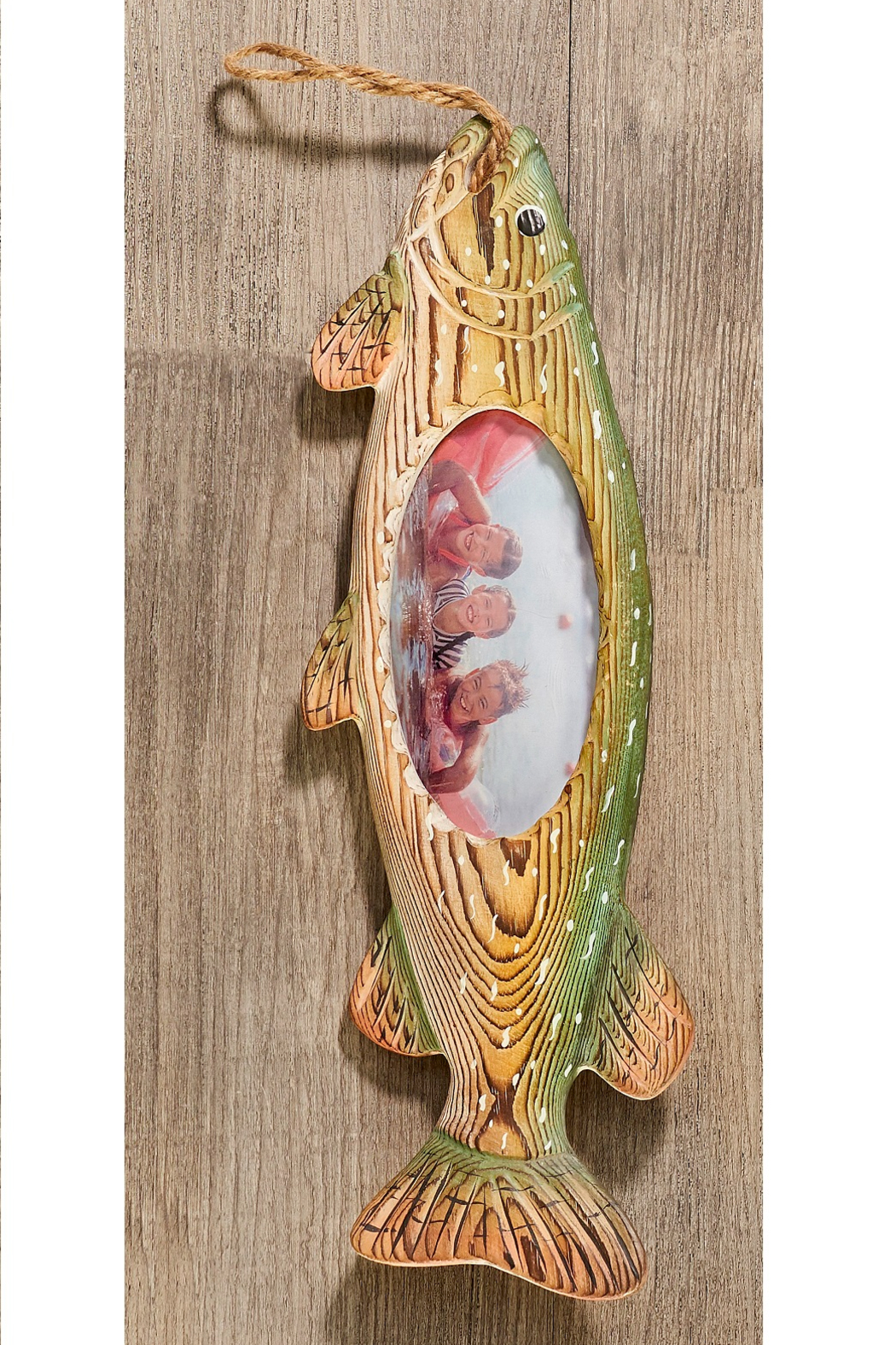 Giftcraft Inc.  Wood Carved Fish Frame - Side Cropped Image