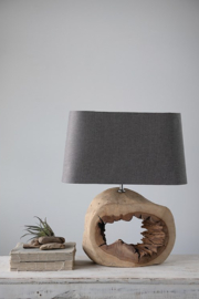 Creative Co-Op Wood Slice Table Lamp - Front cropped