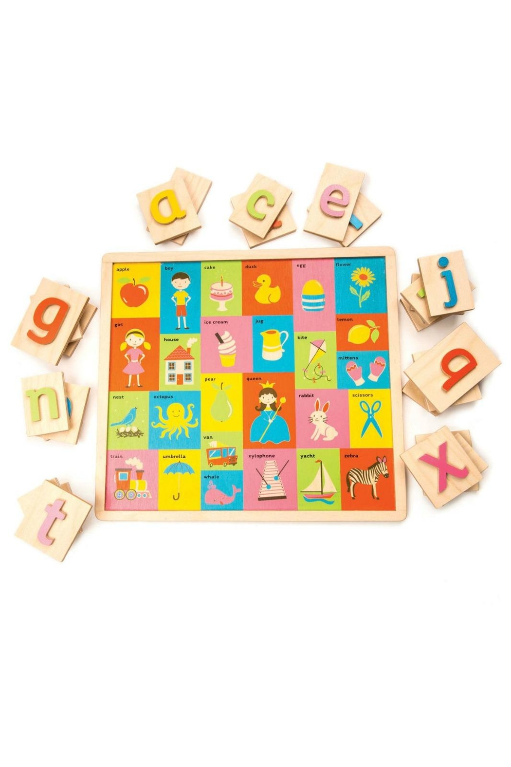 Tender Leaf Toys Wooden Alphabet Tray - Front Full Image