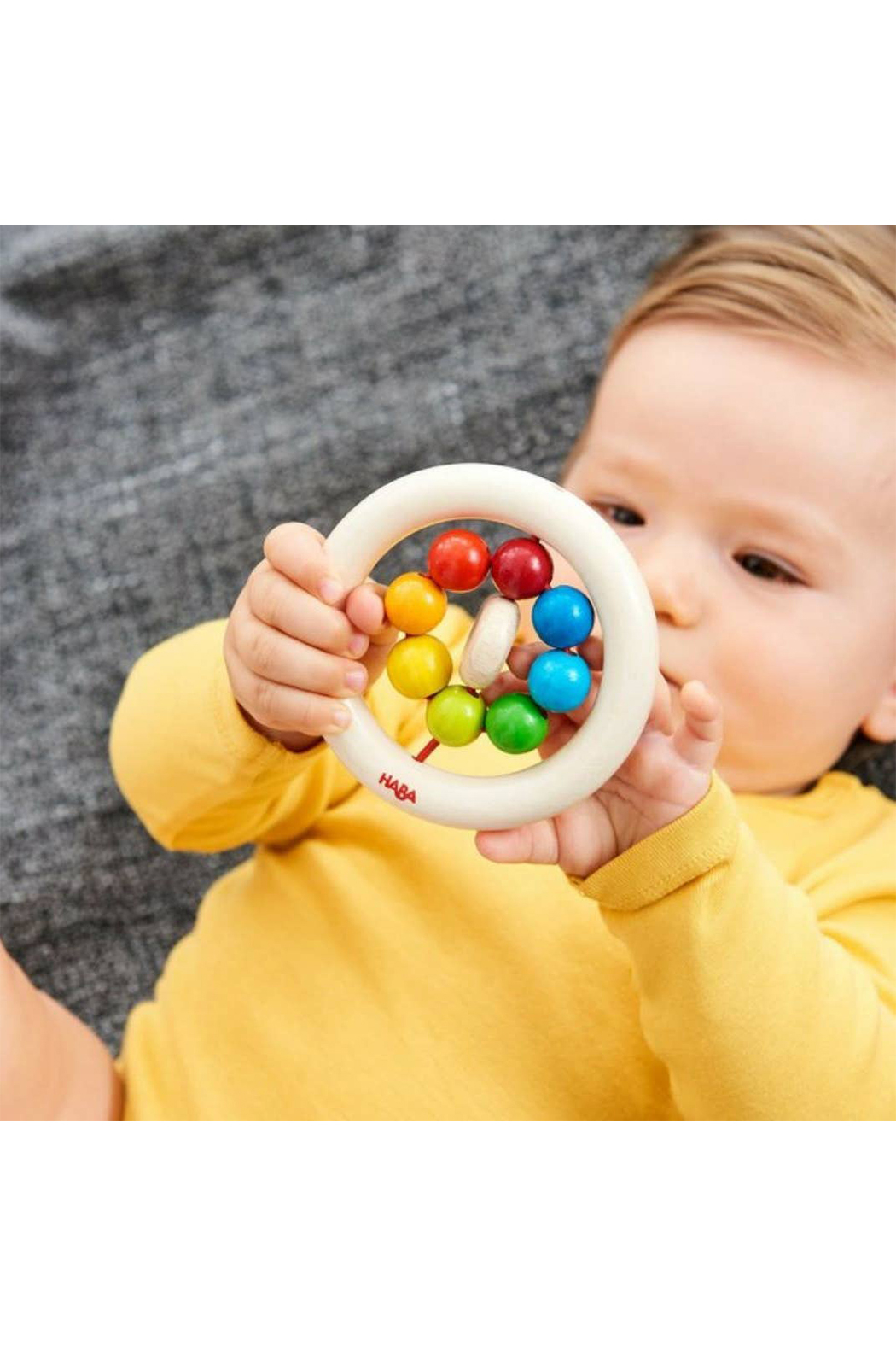 Haba Wooden Clutching Toy Rainbow Balls - Front Full Image