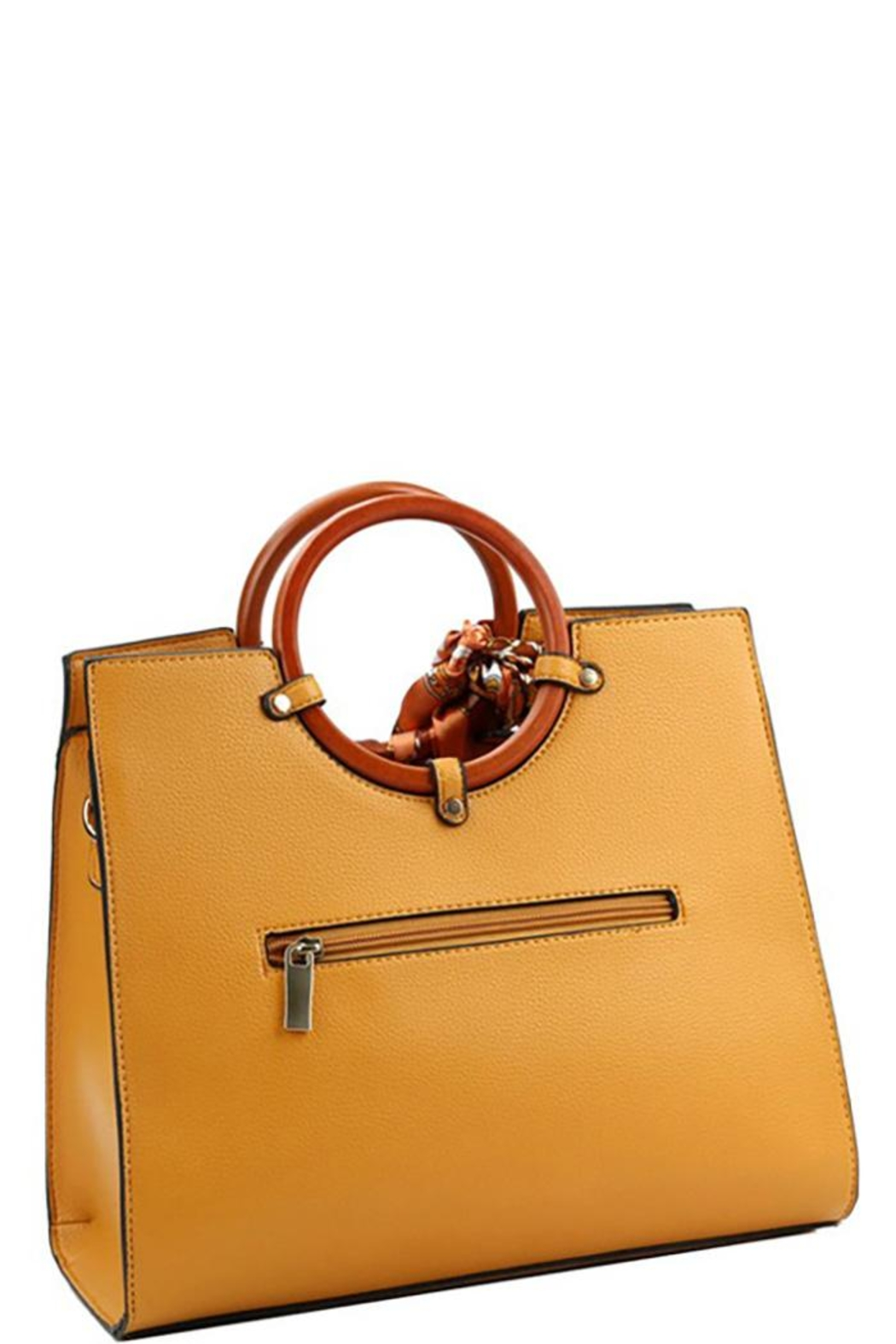Nadya's Closet Wooden Handle Structured-Satchel - Front Full Image