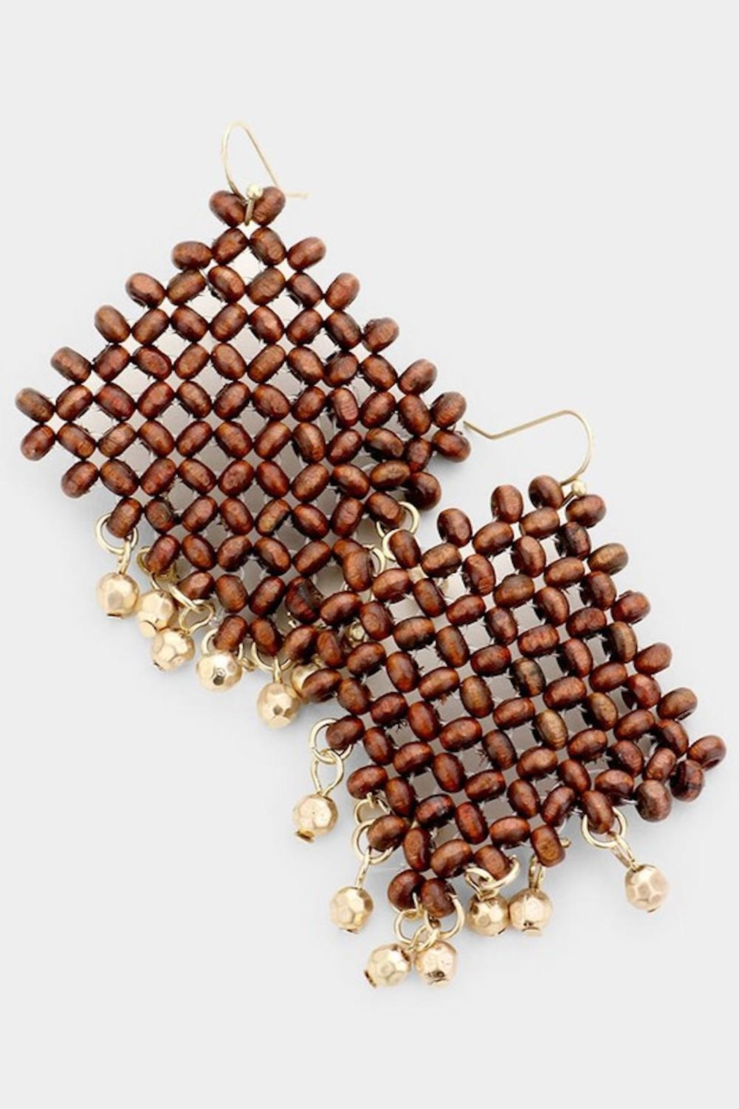 Fashion Jewelry Wooden Net Earrings - Front Cropped Image