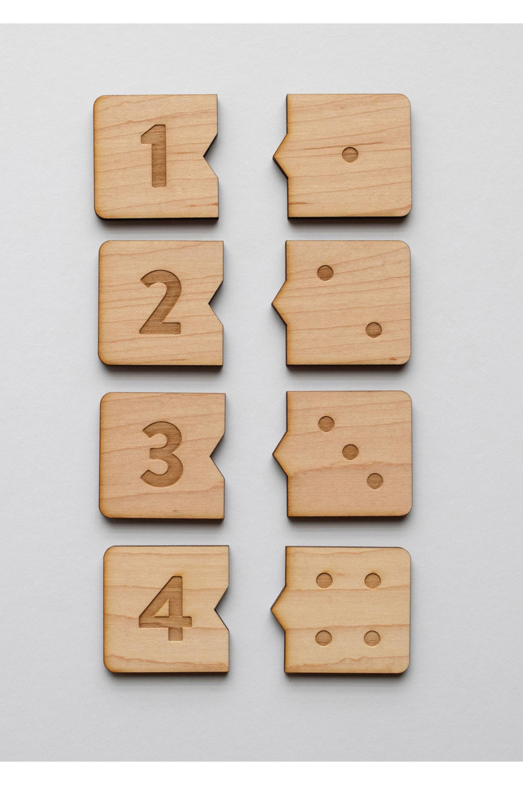 Gladfolk Wooden Number Match Puzzle • Modern Domino Style Kids Game - Side Cropped Image