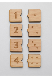 Gladfolk Wooden Number Match Puzzle • Modern Domino Style Kids Game - Side cropped