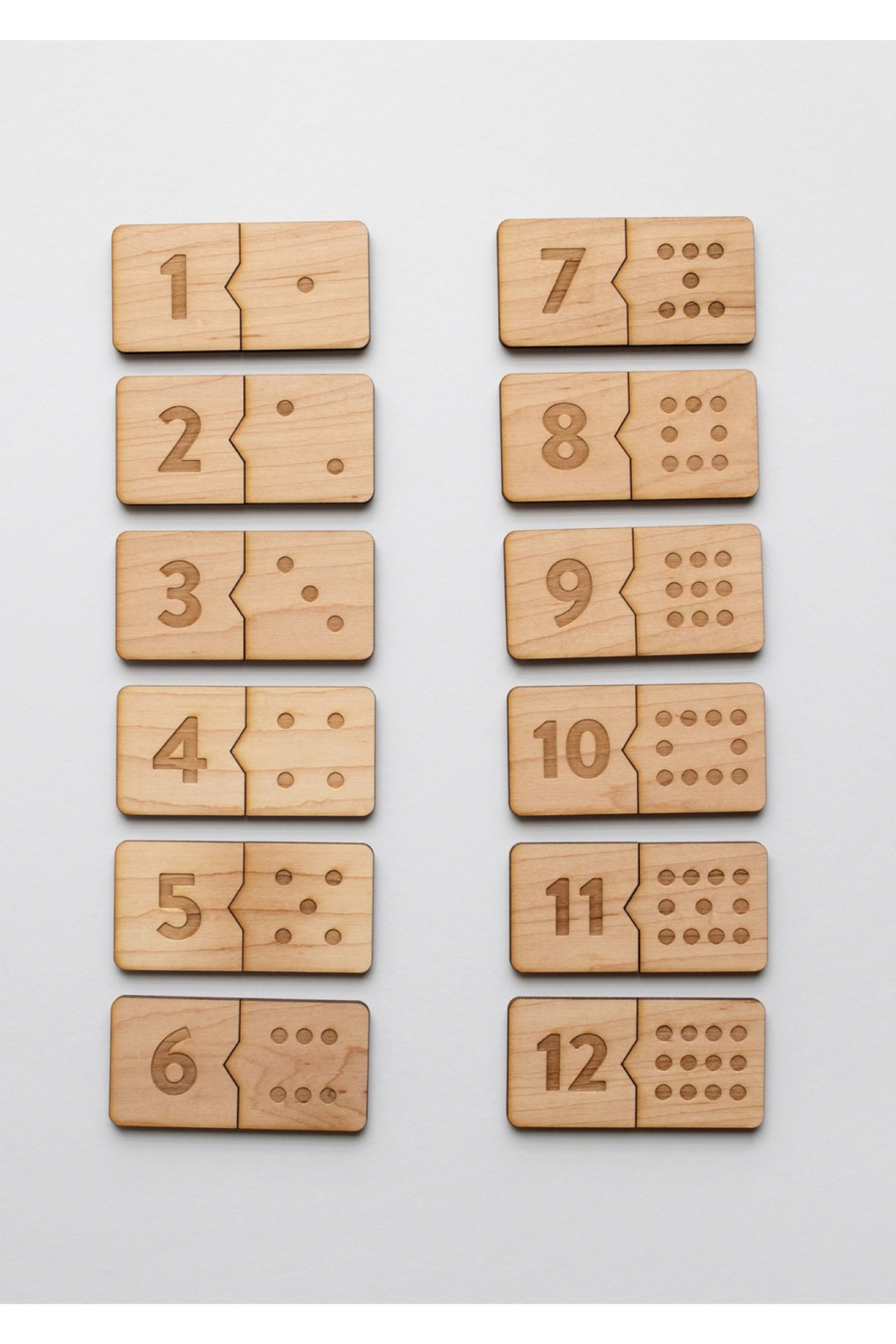 Gladfolk Wooden Number Match Puzzle • Modern Domino Style Kids Game - Front Full Image