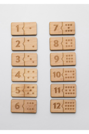 Gladfolk Wooden Number Match Puzzle • Modern Domino Style Kids Game - Front full body