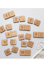 Gladfolk Wooden Number Match Puzzle • Modern Domino Style Kids Game - Front cropped