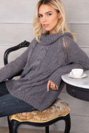 Wooden Ships Boyfriend Cable Knit Sweater - Product Mini Image
