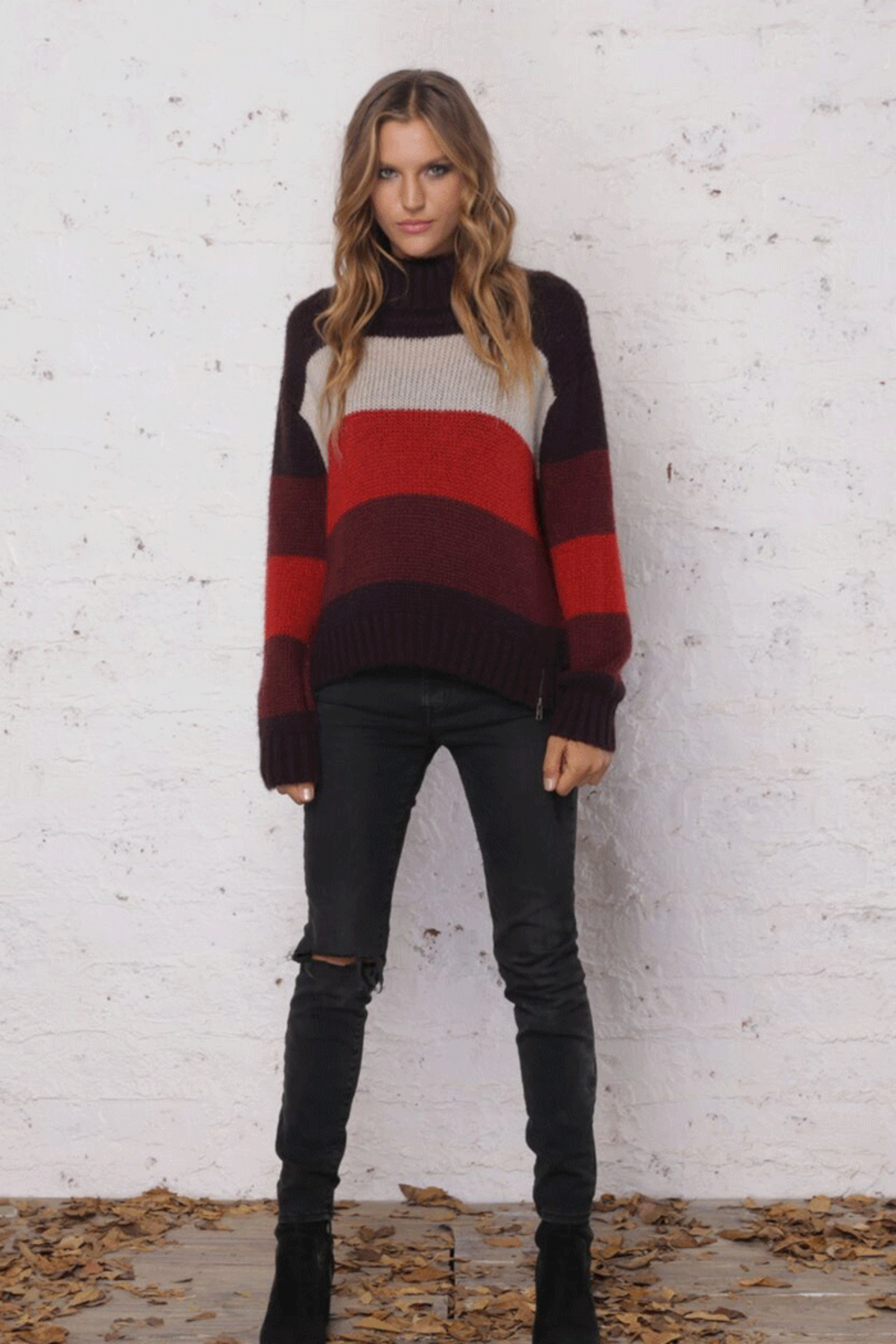 Wooden Ships Heidi Side-Zip Stripe Sweater - Front Cropped Image