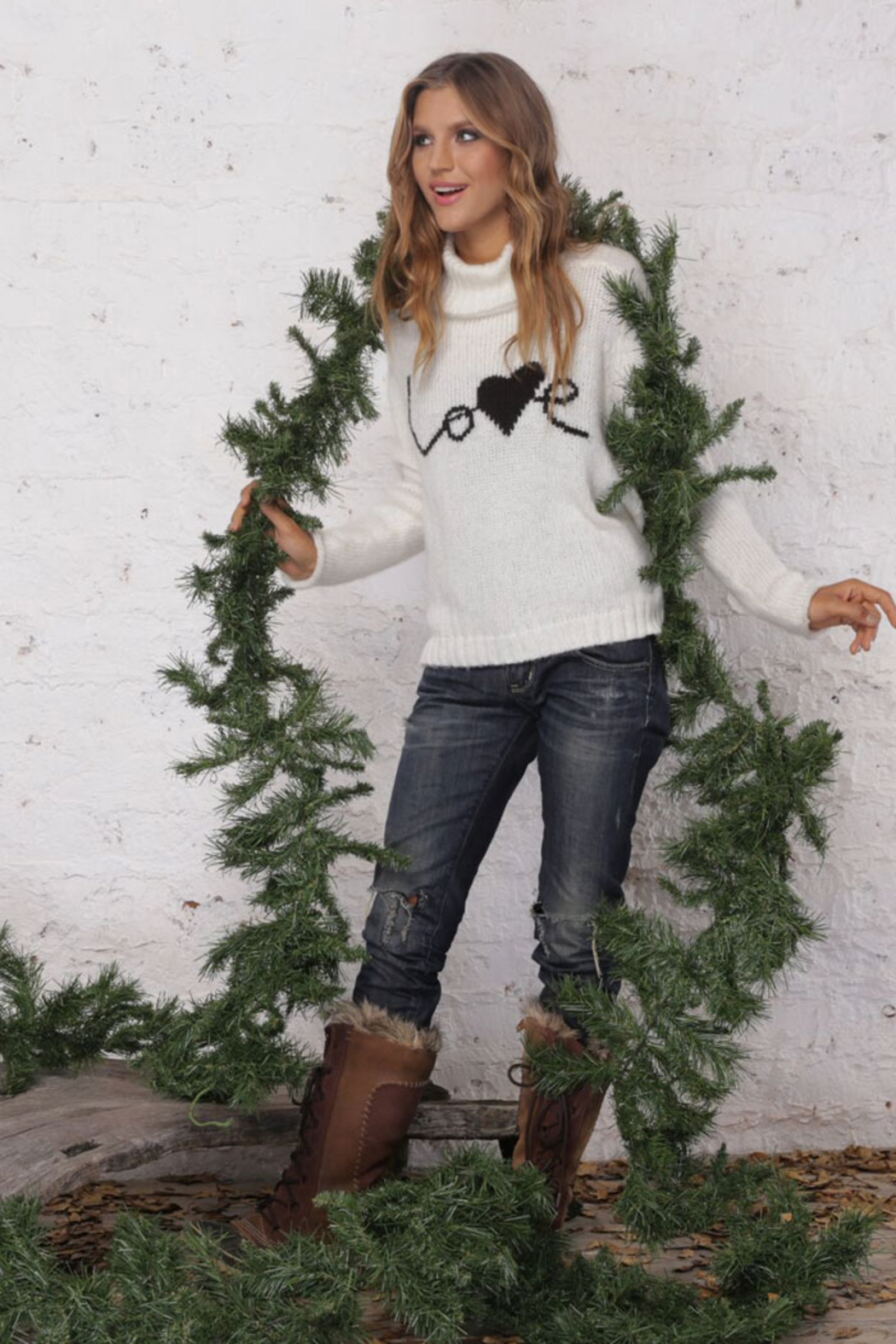 Wooden Ships Love Turtleneck Sweater - Front Cropped Image