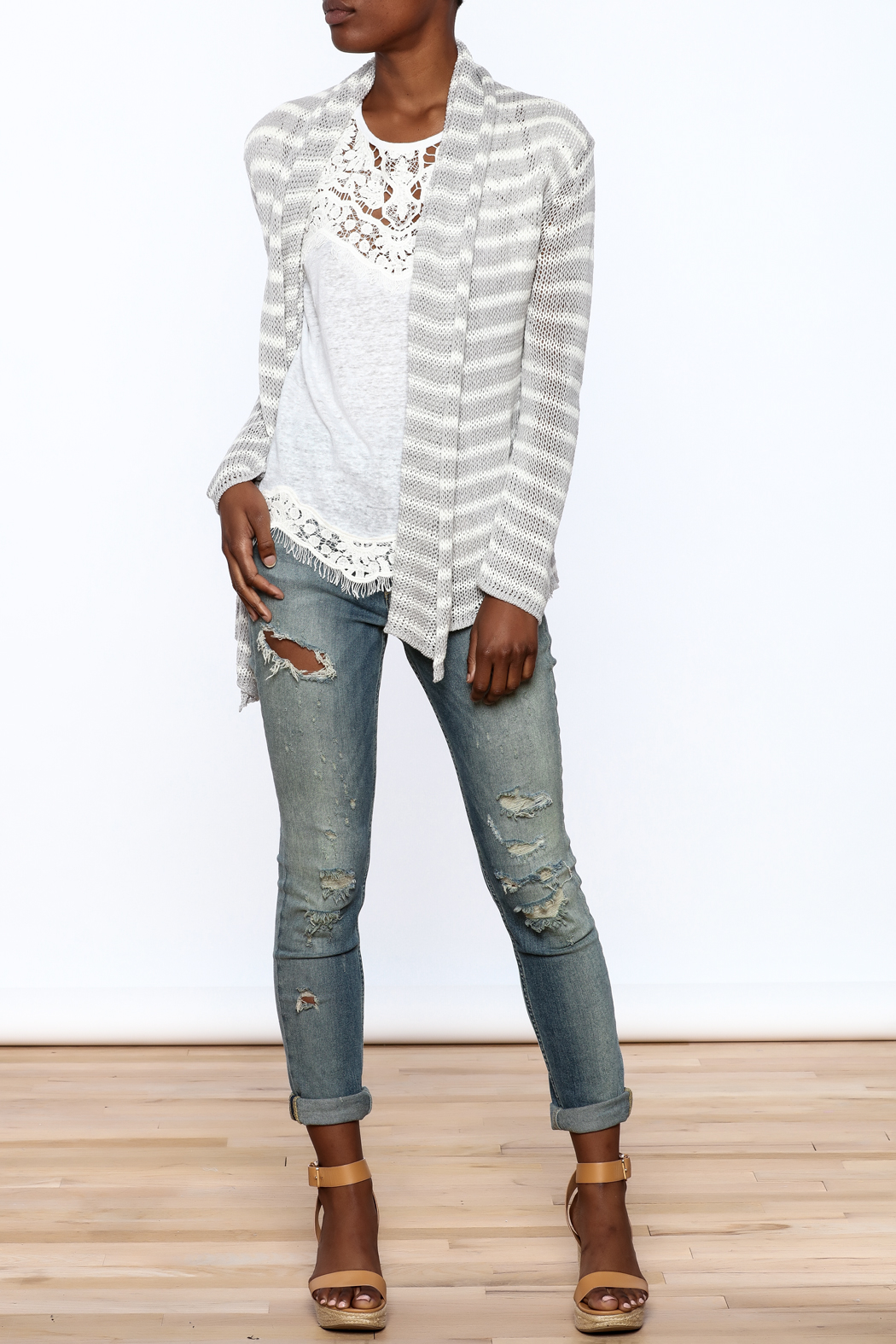 Wooden Ships Wrap Striped Cardigan - Front Full Image