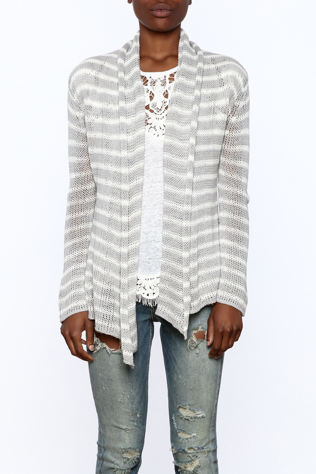 Wooden Ships Wrap Striped Cardigan - Side Cropped Image
