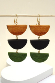 Wall to wall  Wooden Tiered Earrings - Product Mini Image