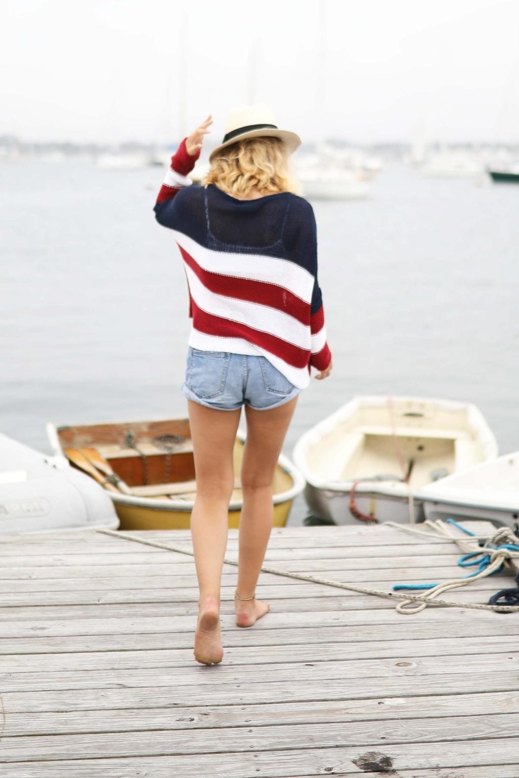 Wooden Ships American Flag Sweater - Back Cropped Image