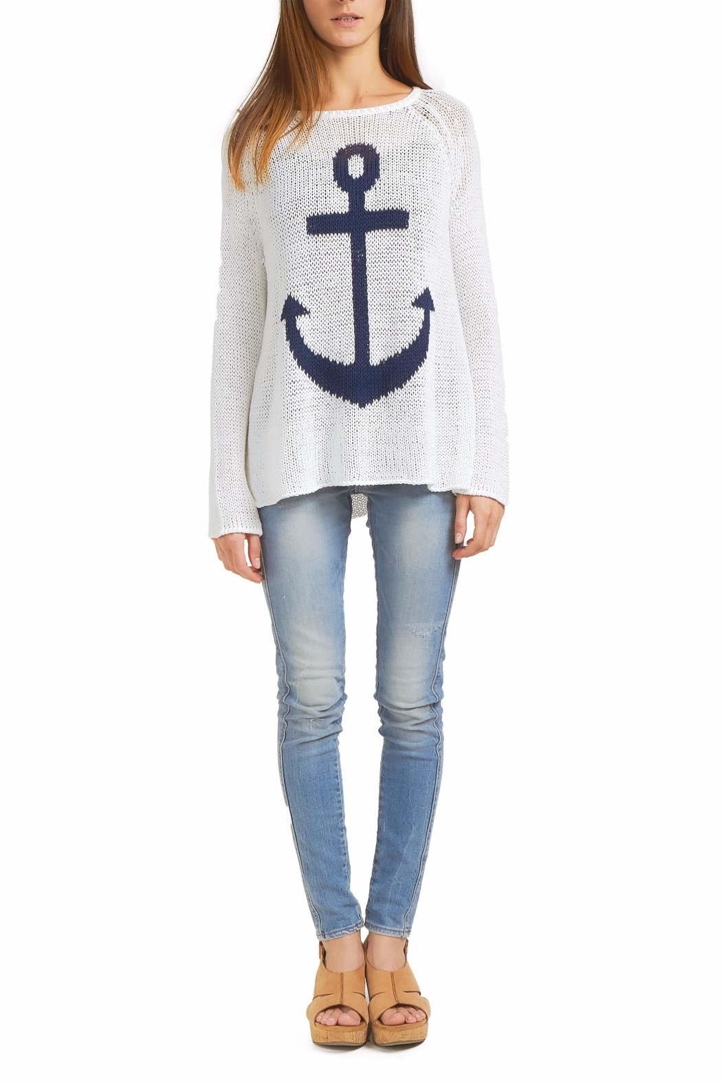 Wooden Ships Anchor Raglan Sweater - Front Cropped Image