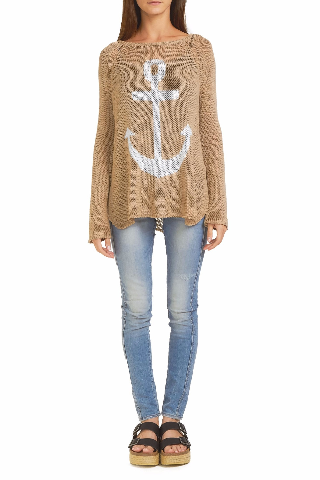Wooden Ships Anchor Raglan Sweater Top - Front Cropped Image