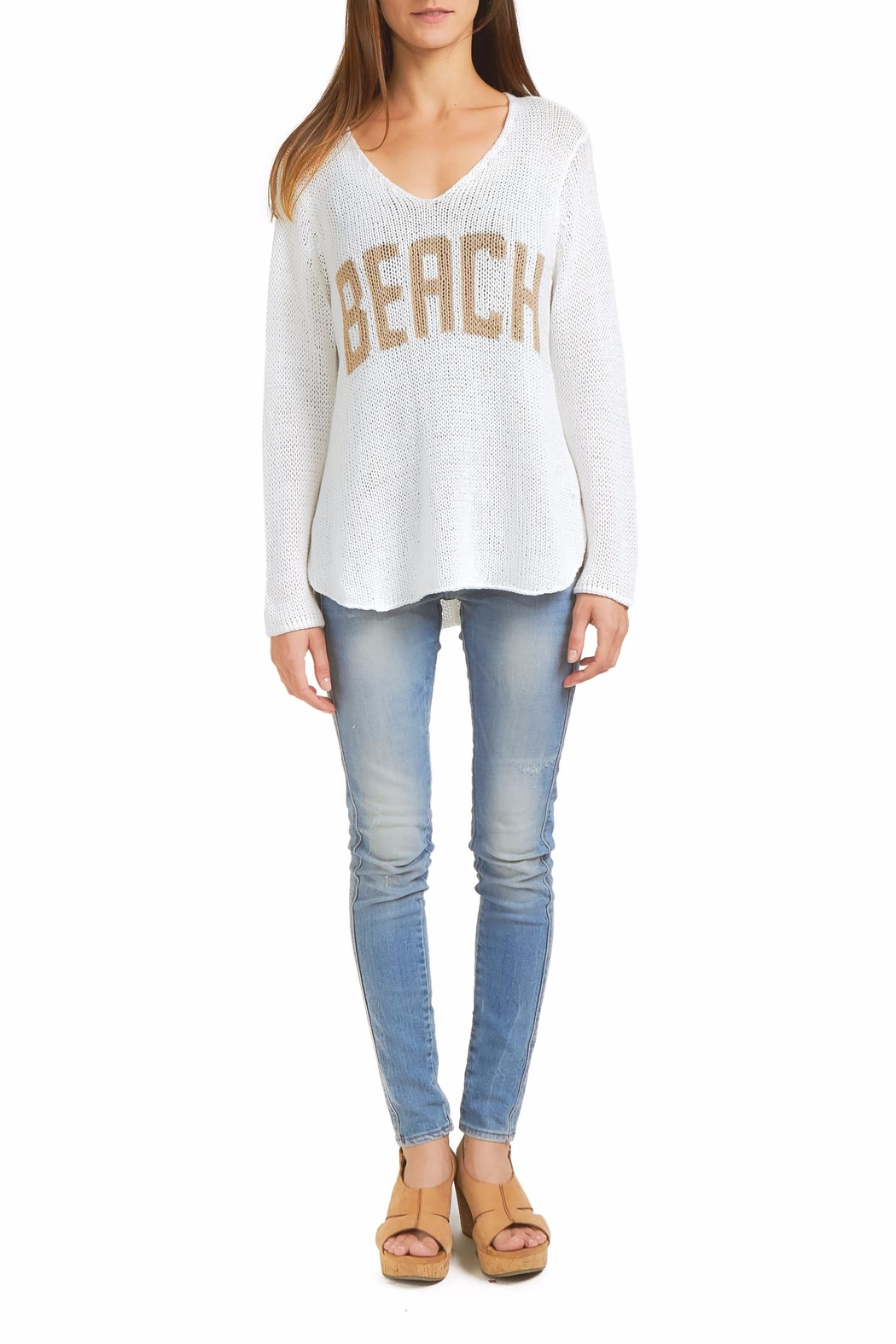 Wooden Ships Beach Sweater Top - Front Cropped Image