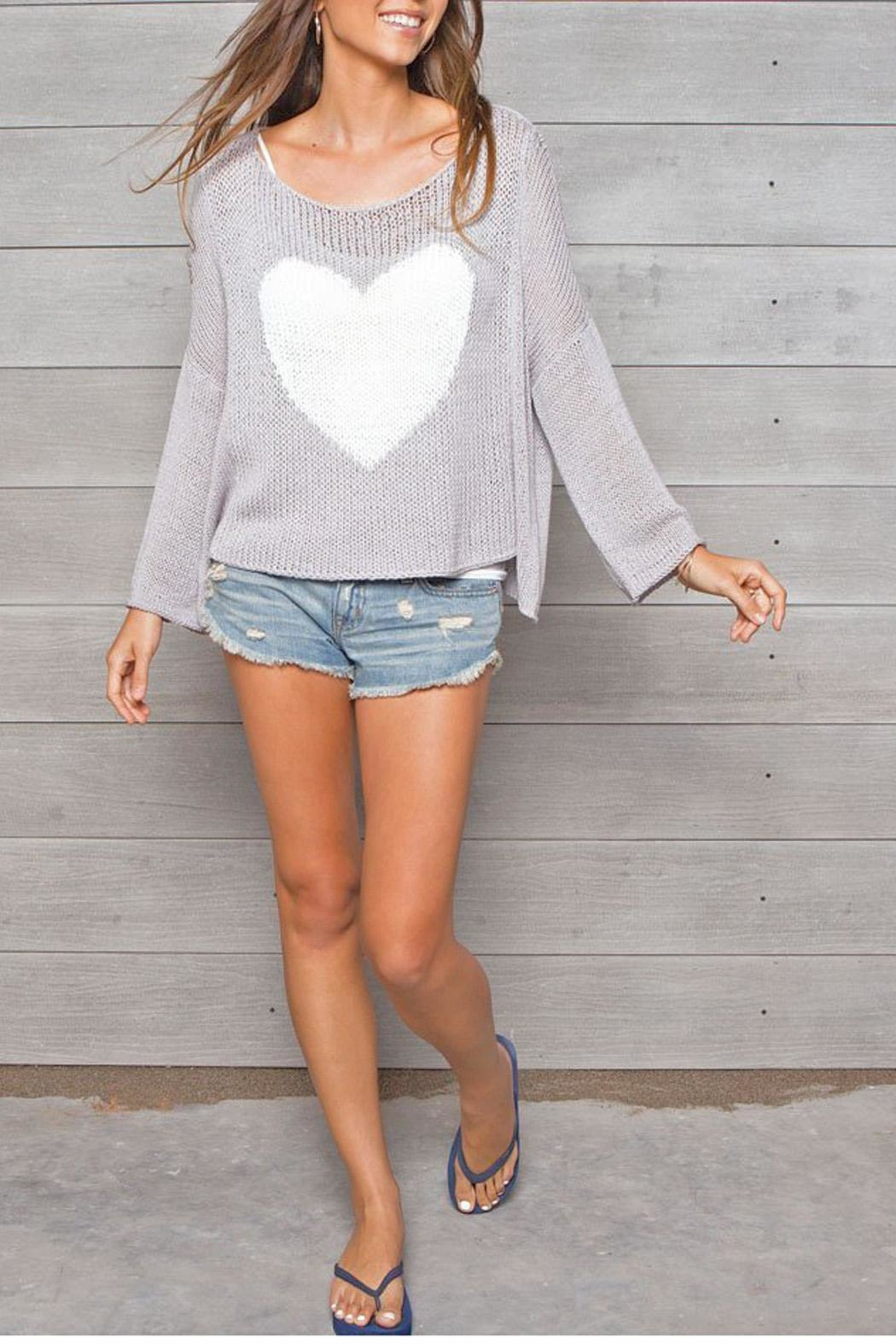 Wooden Ships Big Heart Sweater - Front Cropped Image