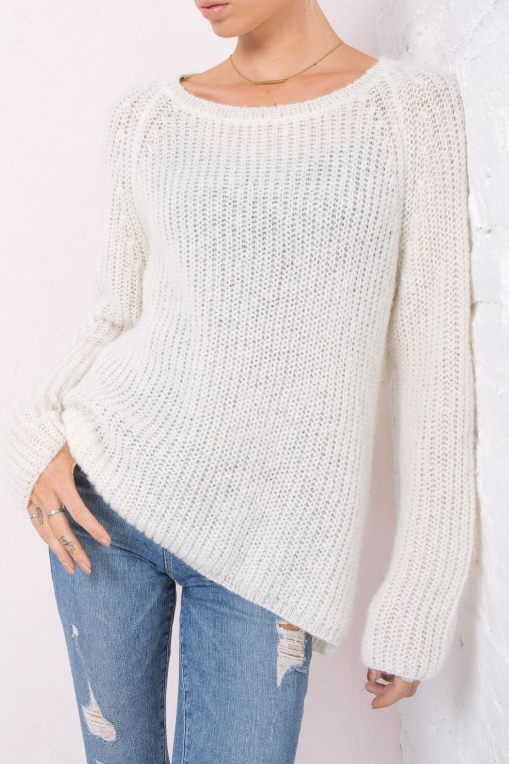 Wooden Ships Lightweight Chunky Crew Sweater - Front Full Image