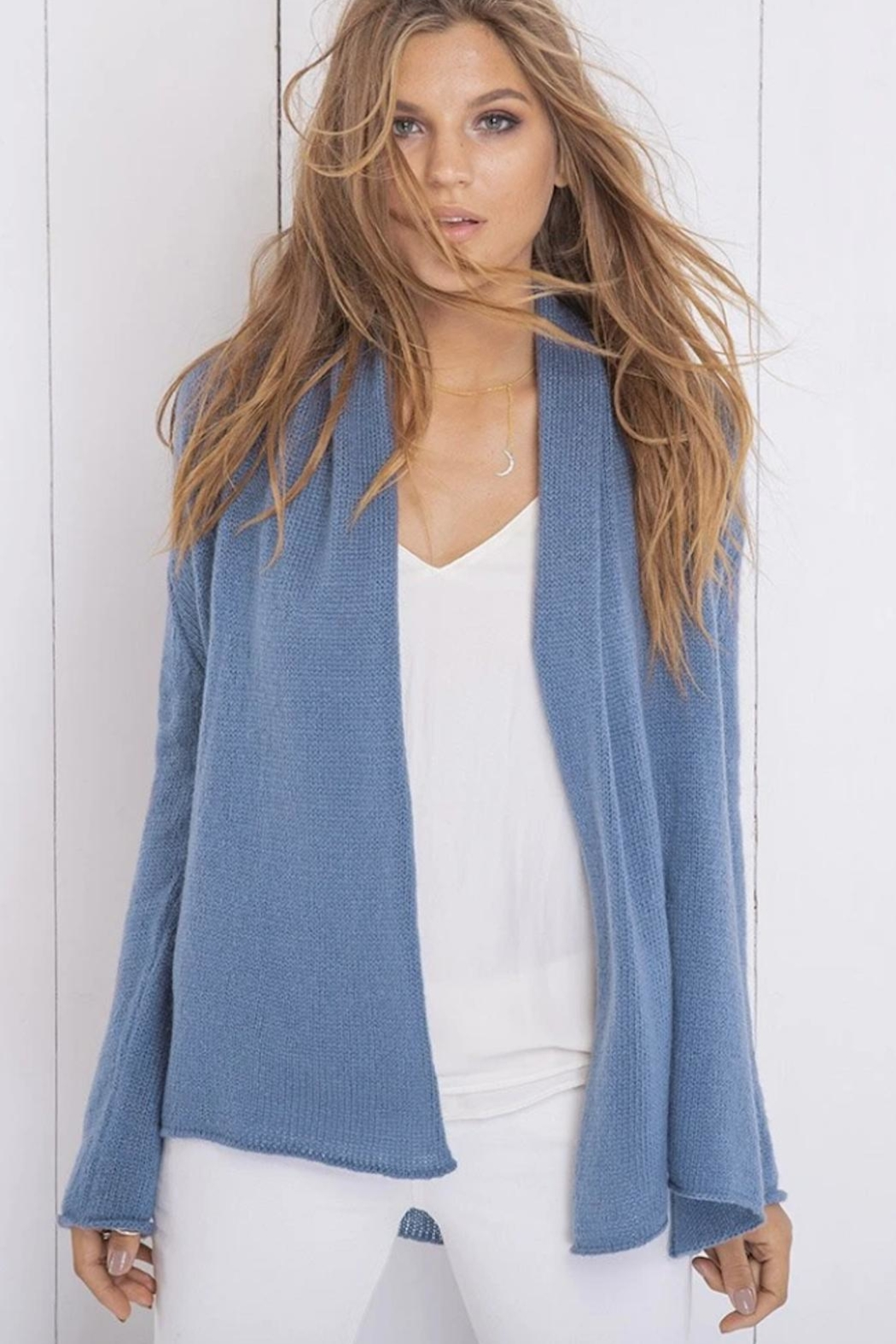 Wooden Ships Lightweight Wrap Sweater - Front Full Image