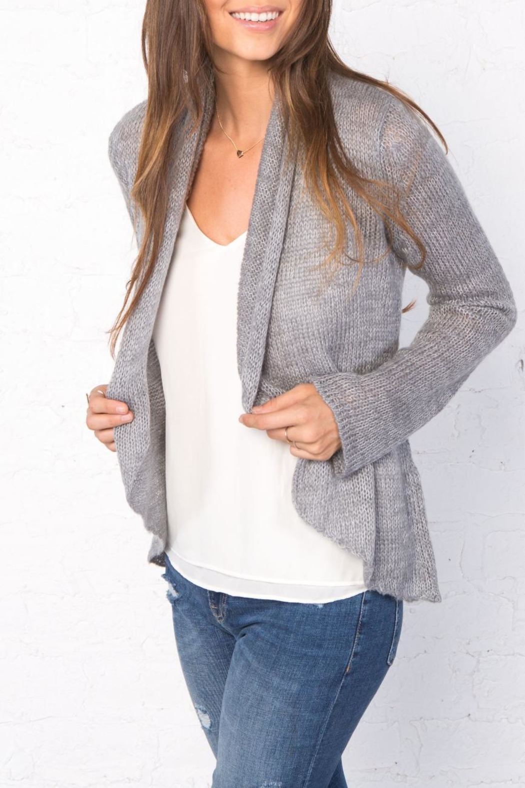 Wooden Ships Marled Cloud Wrap Cardigan - Back Cropped Image
