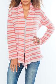 Wooden Ships Coral Stripe Cardigan - Product Mini Image