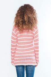 Wooden Ships Coral Stripe Cardigan - Side cropped