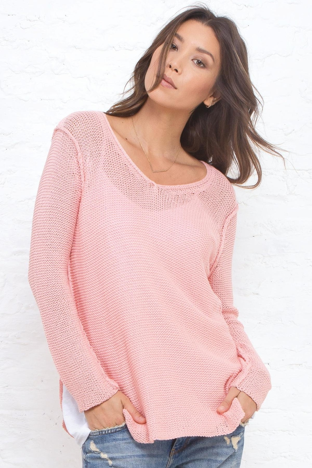 Wooden Ships V-Neck Shirt-Tails Sweater - Front Full Image