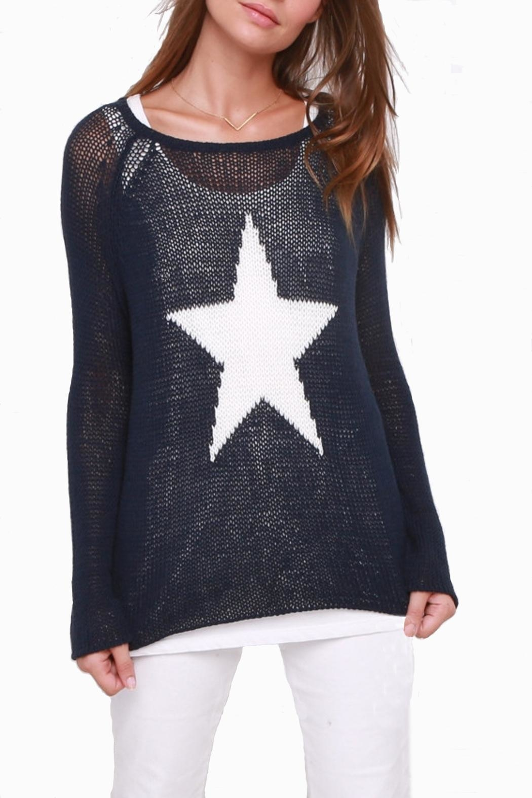Wooden Ships Star Crewneck Sweater - Front Cropped Image
